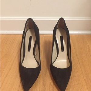 Zara black suede pumps with gold detail